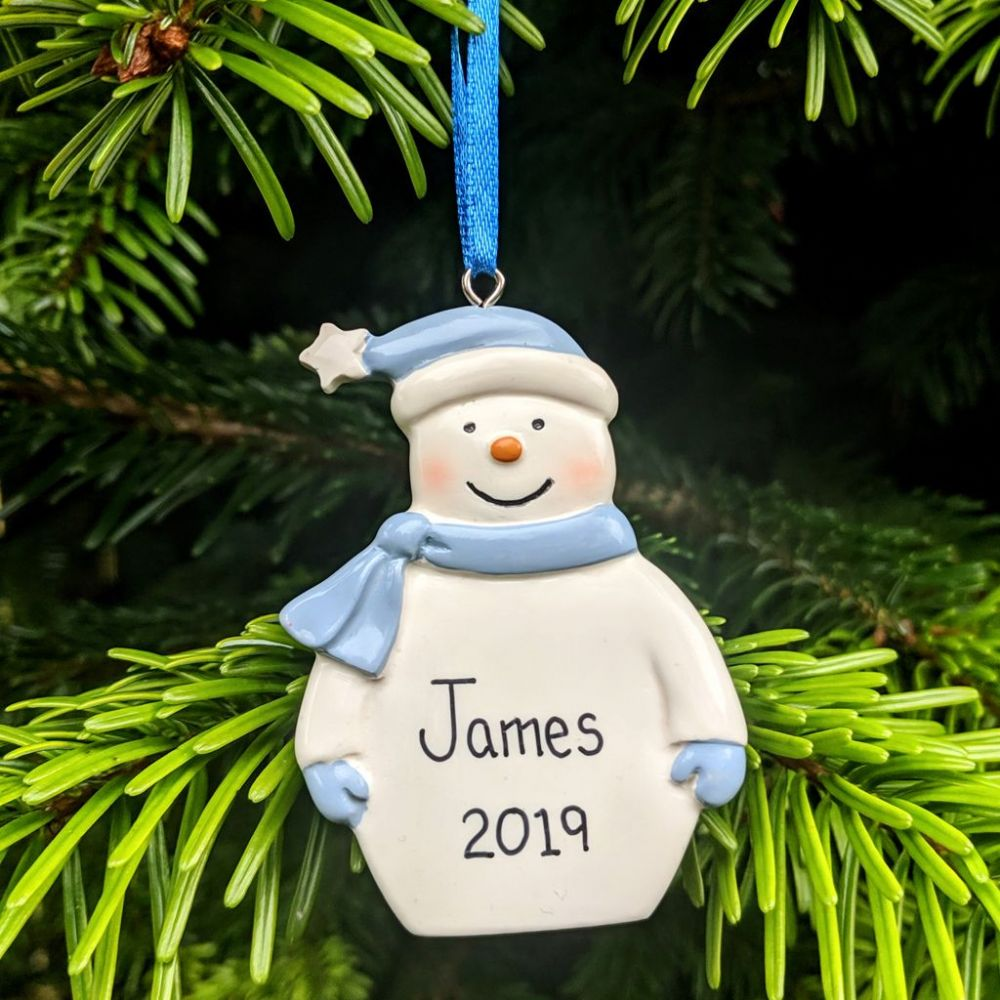 Personalised Snowman with Blue Hat & Scarf